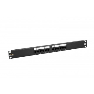 12458MD-C5E 12-Port CAT5E Patch Panel, Universal Wiring T568A/B 1U, Black