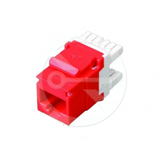 KJ458-C6-RD CAT6 Unshielded Keystone Jack, Universal Wiring T568A/B, Red