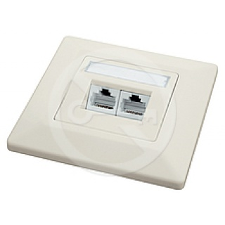 W45/5-2E/R Unshielded Wall Outlet CAT5E, 80 x 80 mm, Biały